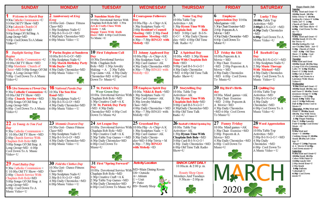Taylor Care Acitivity Calendar