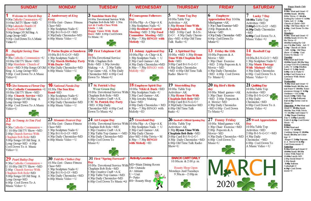 Taylor Care Acitivity Calendar