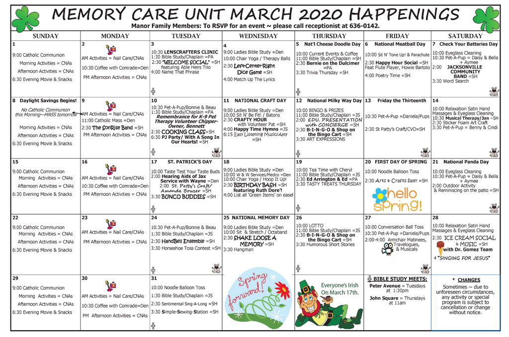 Taylor Manor Memory Care Acitivity Calendar