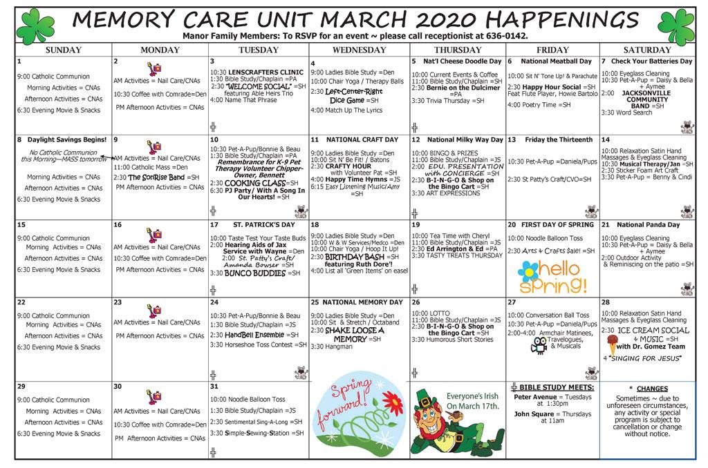 Taylor Manor Memory Care Acitivity Calendar